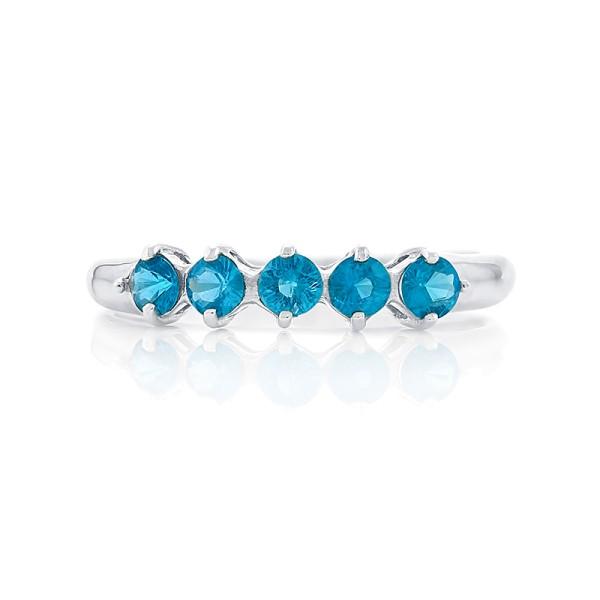 Кольцо с синими апатитами из серебра 925 пробы