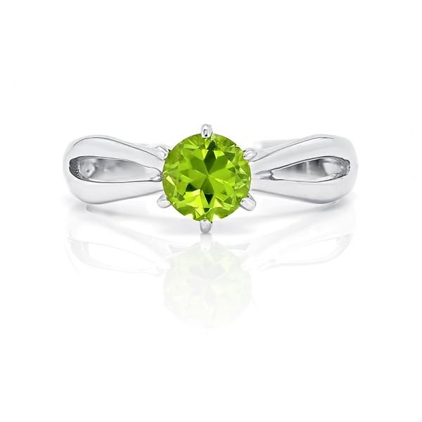 кольцо с хризолитом из серебра 925 пробы