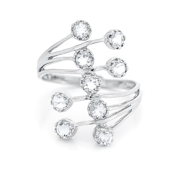 Кольцо с белыми топазами из серебра 925 пробы