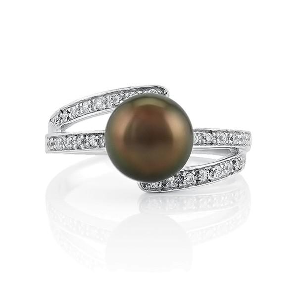 Кольцо с коричневым жемчугом из серебра 925 пробы