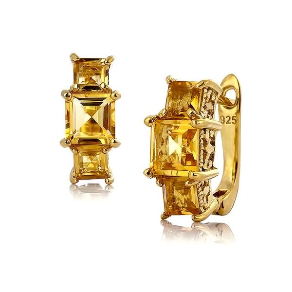 Серебряные серьги с цитринами покрытые золотом 785 пробы