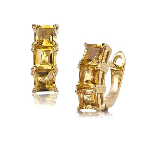 Серьги с цитрином покрытые золотом