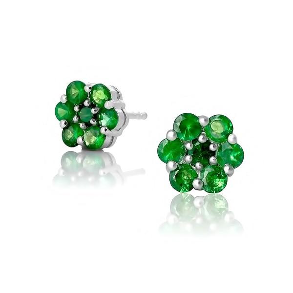 Серьги с зелеными гранатми из серебра 925 пробы