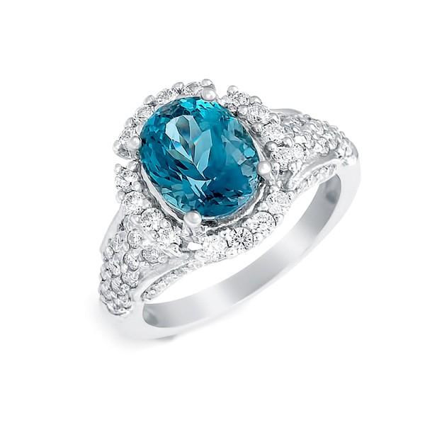 """Кольцо с """"London blue"""" топазом из серебра 925 пробы"""