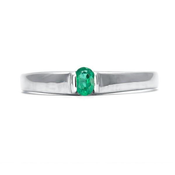 кольцо с изумрудом покрытое родием