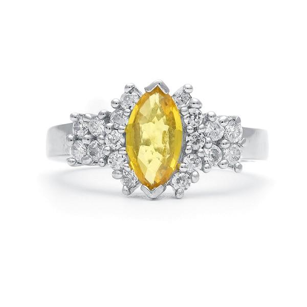 Кольцо с желтым сапфиром из серебра 925 пробы