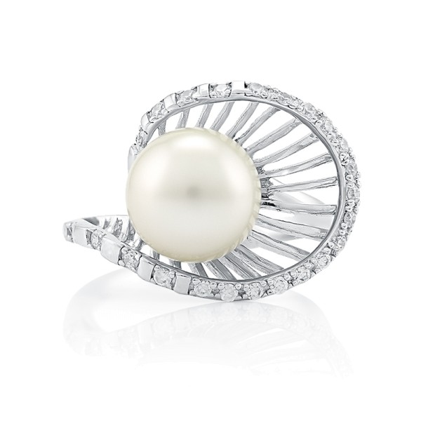 Кольцо с морским с жемчугом из серебра 925 пробы