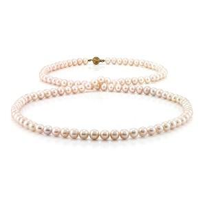 Ожерелье из натурального розового жемчуга