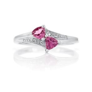 Кольцо с розовым турмалином из серебра 925 пробы