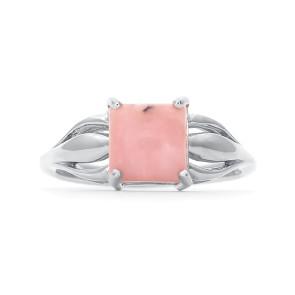 Кольцо с розовым опалом из серебра 925 пробы