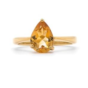 Кольцо с цитрином покрытое золотом 785 пробы